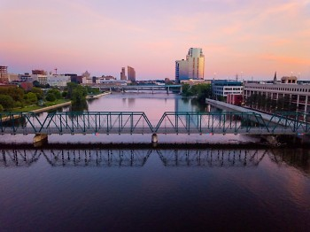 The Grand River and Blue Bridge in downtown Grand Rapids.