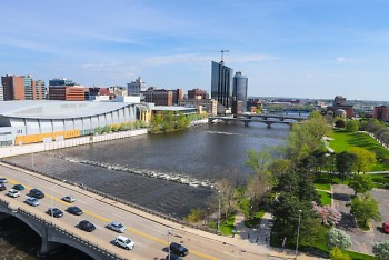 Skyline view of the Grand River in downtown Grand Rapids, facing south.