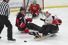 Griffins players Jordan Pearce and Louis-Marc Aubry battle for the puck
