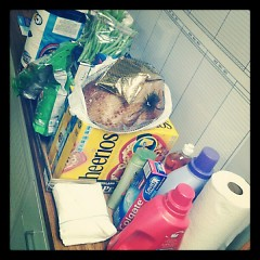 Some food and personal care items that were collected for a family during the holidays.