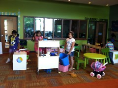 """Club members engaging in some imaginative play during """"Unplugged Wednesdays."""""""