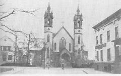 A picture of St. Mark's taken in the 1890s. The building to the right is now the Kendall College parking lot.