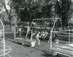 An active playground at Cherry Park on the corner of Cherry and Eastern
