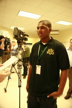 Donovan Cummings, an incoming 9th grade student, spoke to the media about the student benefits of the