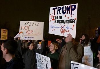Protestors chant anti-bigotry message at Trump rally
