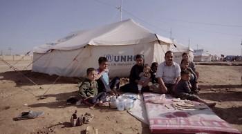 Refugees at a UNHCR camp