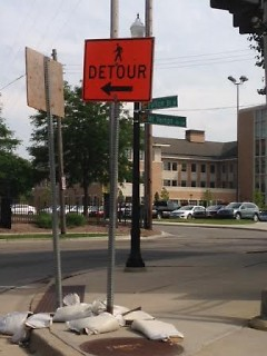 Some local businesses have had to display signs for customers facing a detour