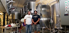 Bobby Edgcomb, left, assistant brewer, and Jacob Brenner, right, head brewer for GRBC
