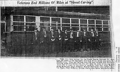 Retiring veterans of the streetcar drivers who were replaced in 1935.