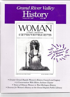 """Cover picture of a 1908 magazine titled """"WOMAN"""", once published by early Grand Rapids feminists."""