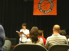 Hopper reading from her book <i>The Girls' Guide to Rocking</i>