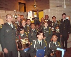 Cadets showing of there Awards they earned at last years award ceremony at Ottawa Hills High School