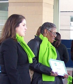 Photo: Jenny Shalifoe and Connie Jones being awarded a Lifestyle Change Award in 2008