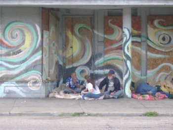 This is a picture of the alcove store front of 217 S. Division. This pictrue was taken about a year before Mr. Erkfitz created t