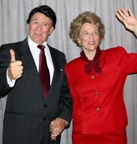 Ronald and Nancy Reagan, played by historians and artists William and Sue Wills, will share stories about their lives together.
